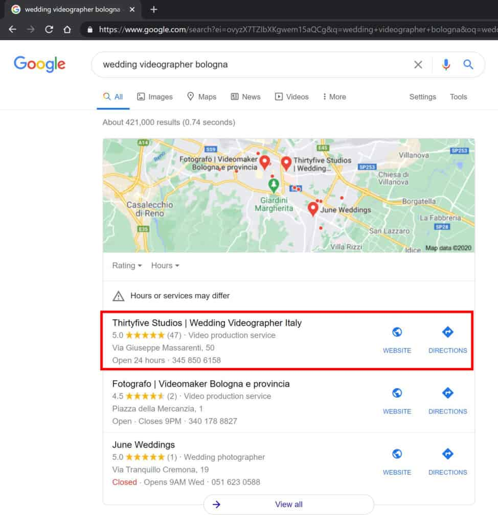 attività su google my business