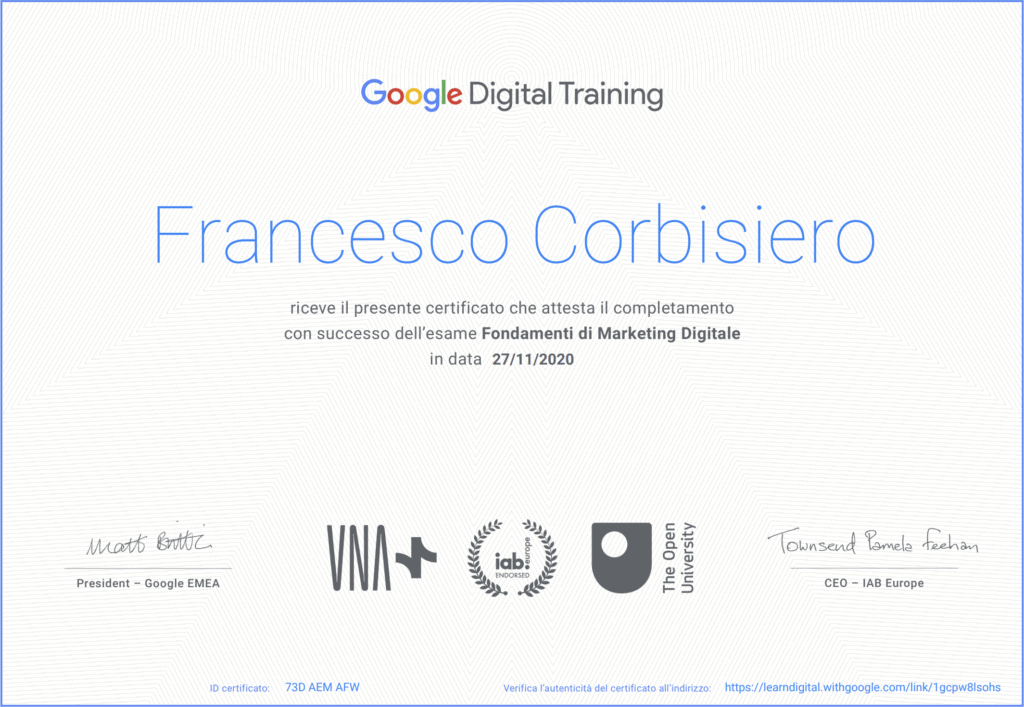 certificazione google digital marketing corbisiero francesco
