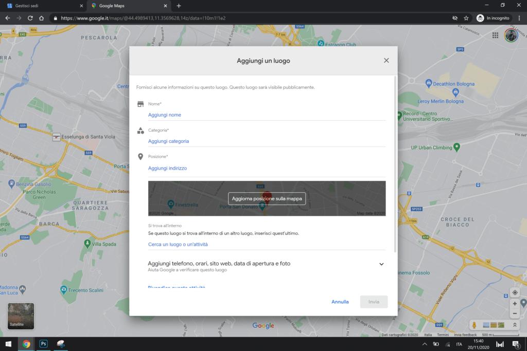 aggiungi luogo mancante google maps