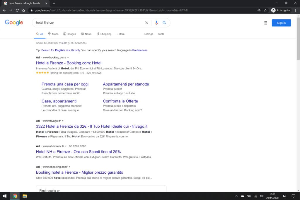 google ads pubblicità hotel