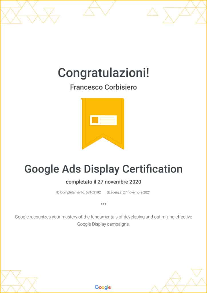 certificazione google display ads corbisiero francesco