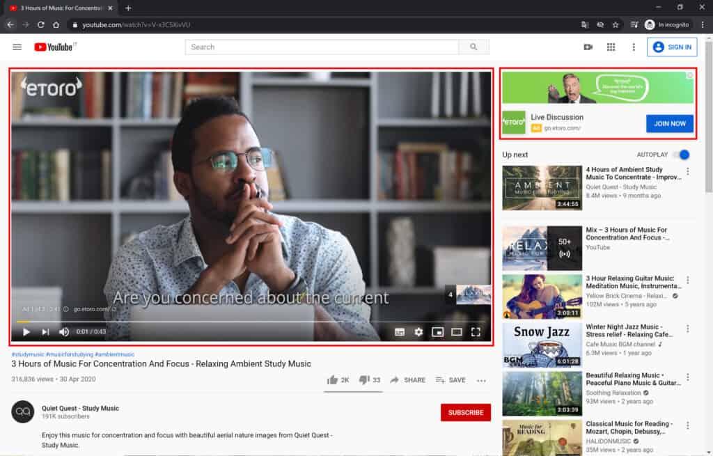 pubblicità nei video di youtube