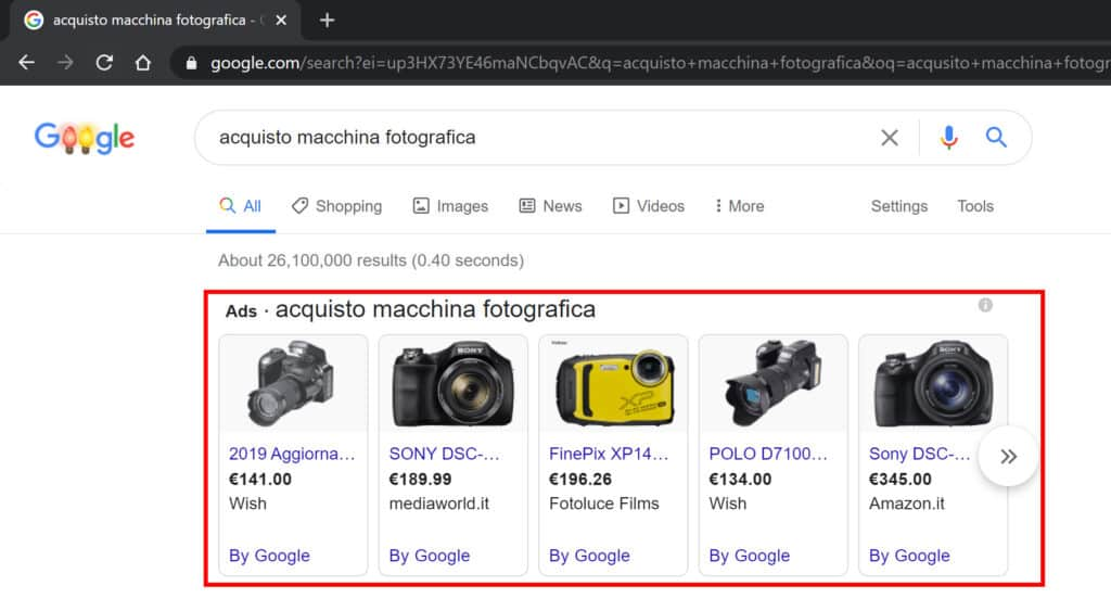 google shopping nella serp