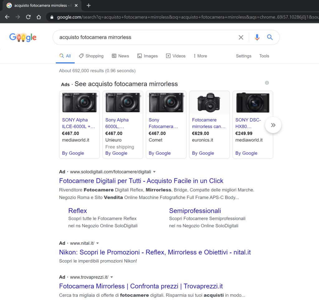 ricerca organica google