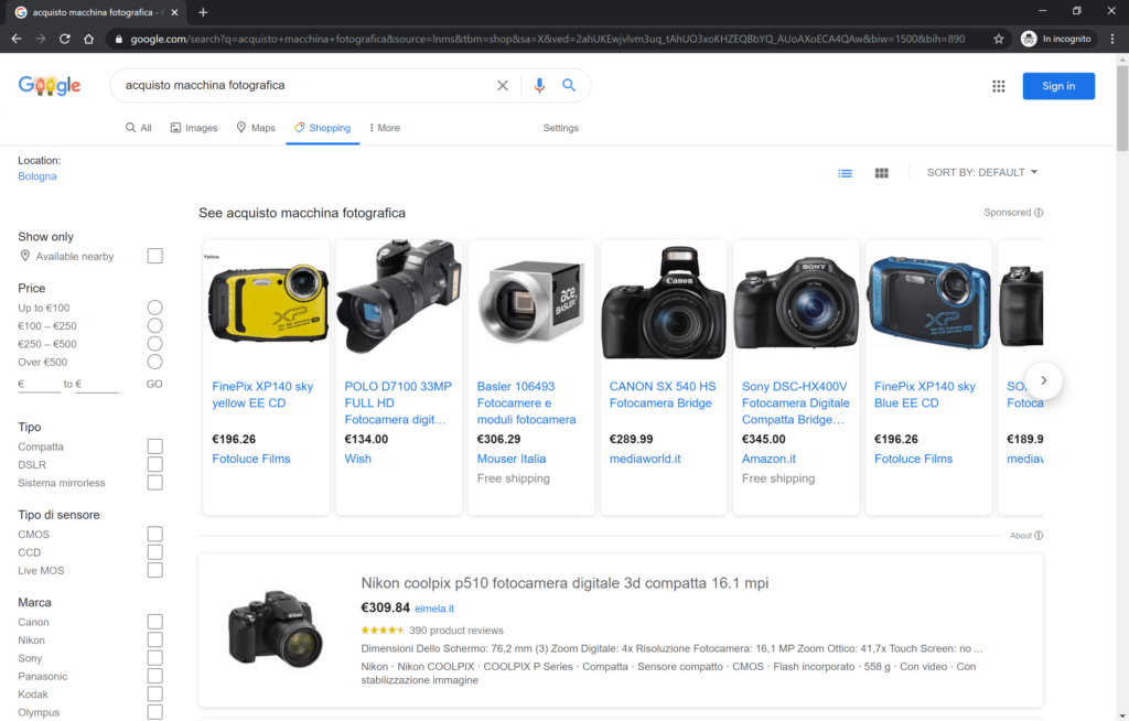 pagina di google shopping