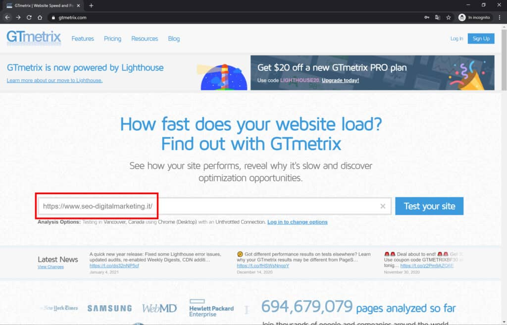 home gtmetrix test sito