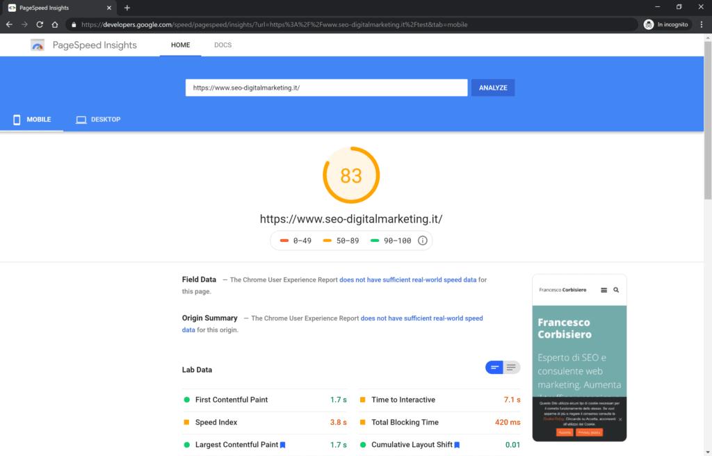 risultato mobile page speed di google