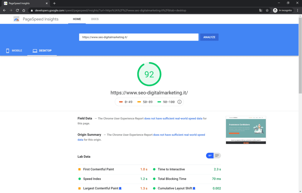 risultato desktop page speed di google
