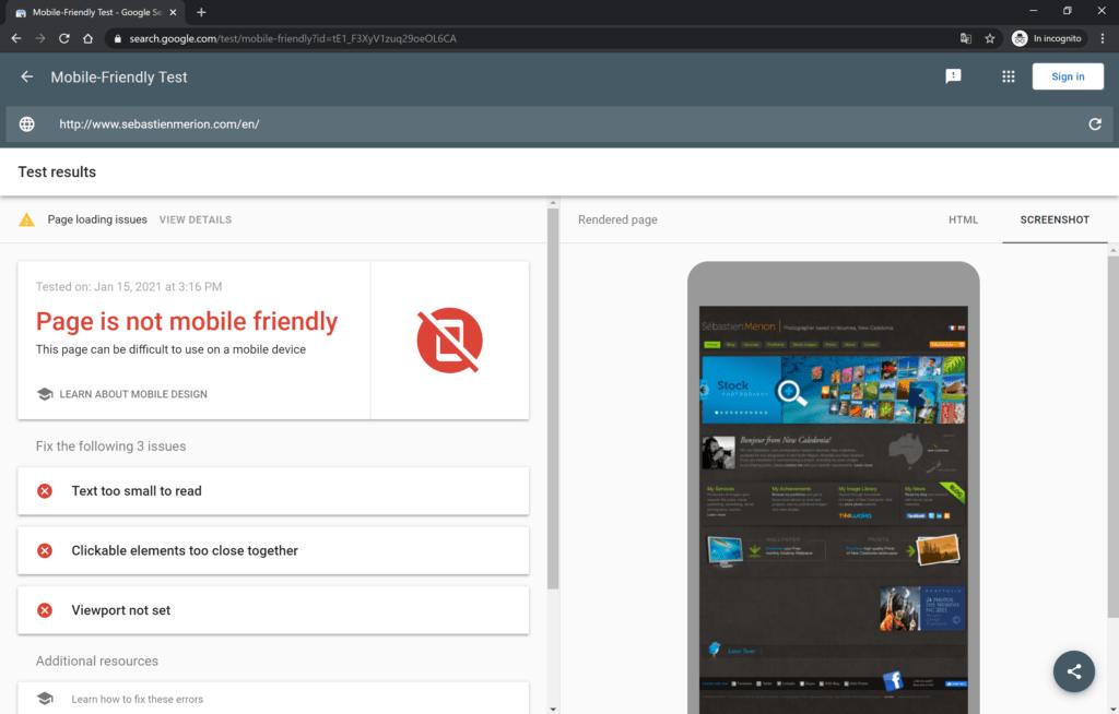 sito non mobile friendly