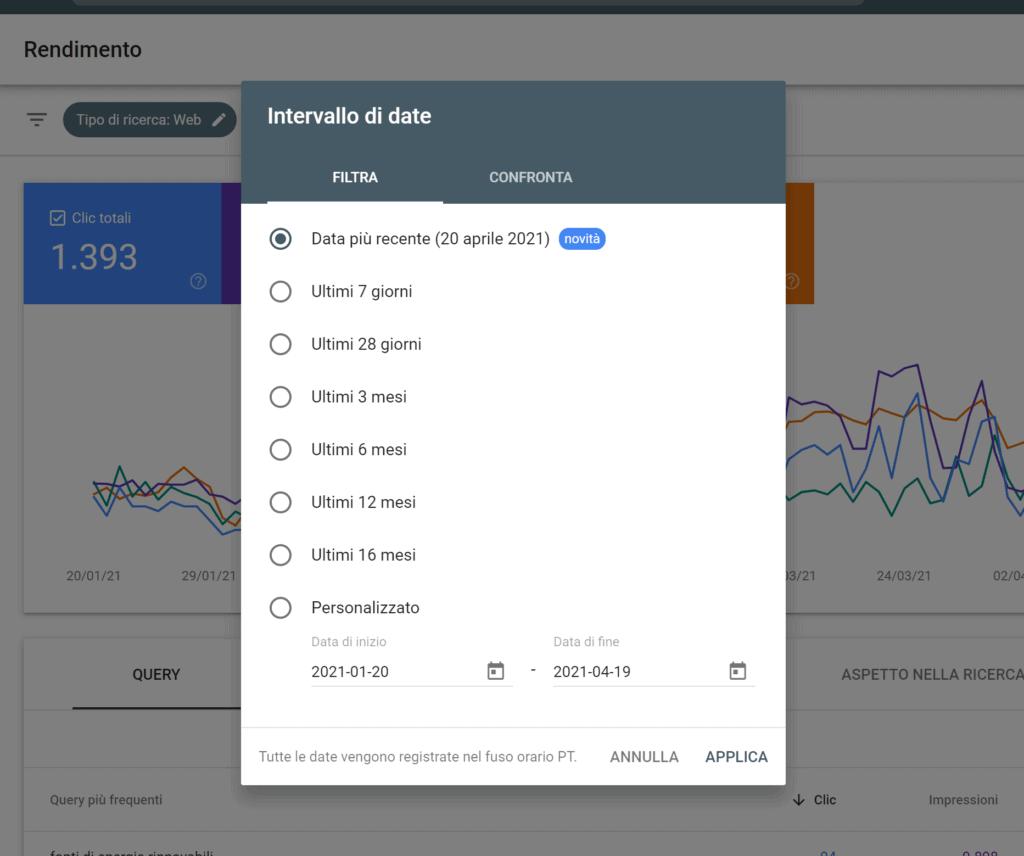 selezione intervallo date google search console
