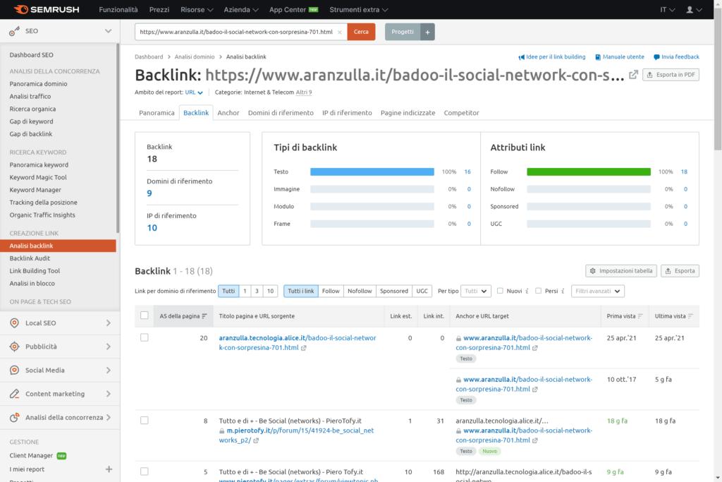 backlink di una pagina