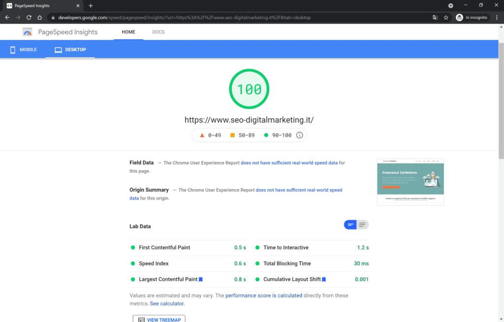 test google page speed desktoop