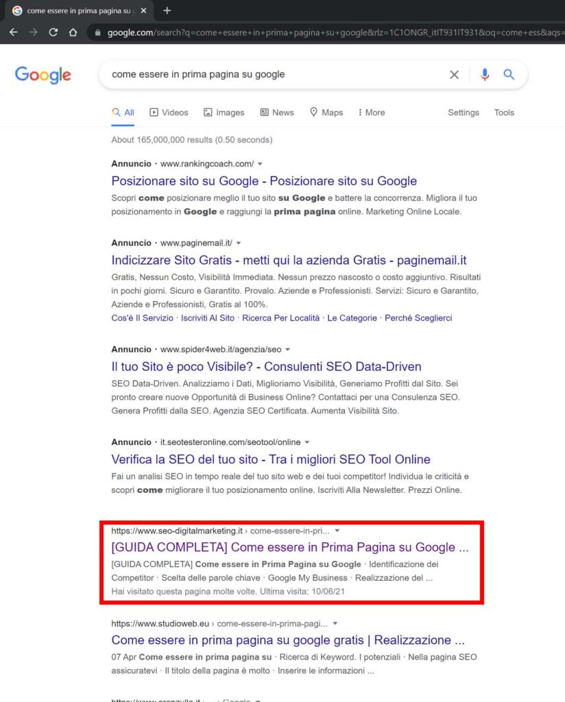 serp come essere in prima pagina su google