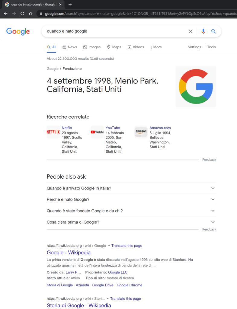 quando è nato google