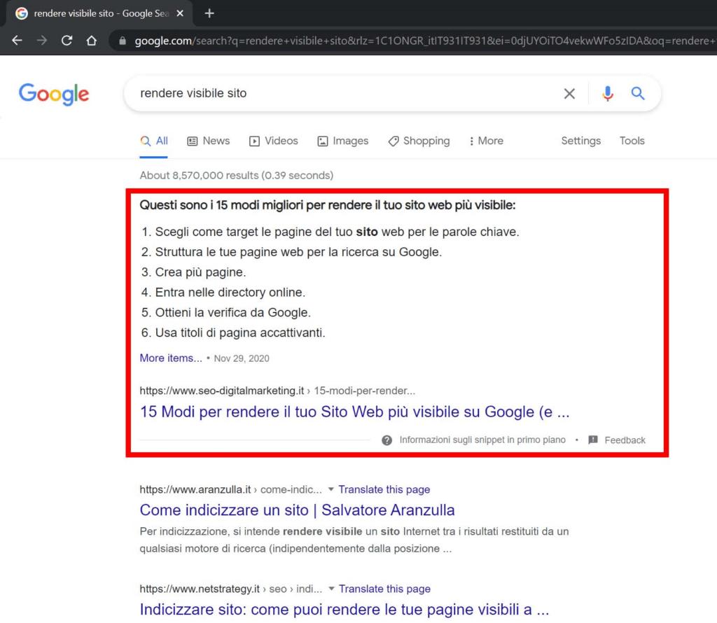 come rendere visibile un sito su google, snippet